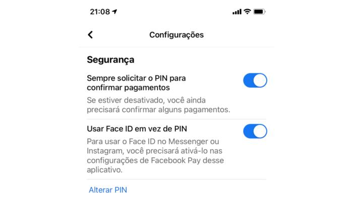 Habilitando o PIN e biometria no Facebook Pay (Imagem: Reprodução)