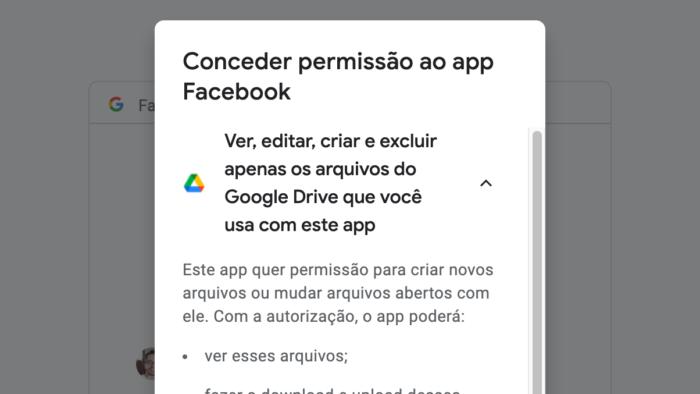 Facebook pede acesso ao Google Drive (Imagem: Reprodução)