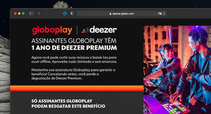 Site da parceria entre Globoplay e Deezer Premium