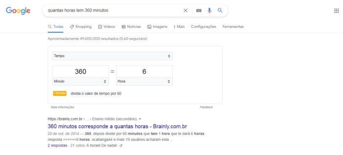 O Google te responde de forma rápida uma conversão entre minutos e horas (Imagem: Reprodução/ Google)