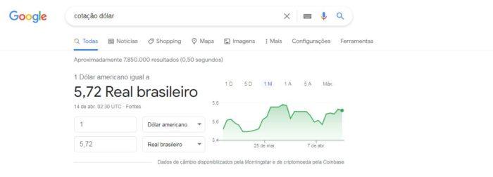 É possível pesquisar no Google a cotação atual do dólar (Imagem: Reprodução / Google)