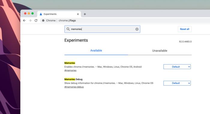 Opção no Chrome Flags para ativar o Memories (Imagem: Reprodução/Tecnoblog)