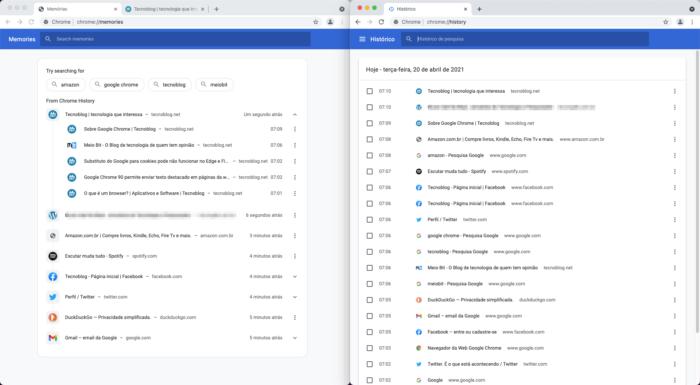 """Chrome Memories (esquerda) e o histórico """"tradicional"""" (direita) lado a lado (Imagem: Reprodução/Tecnoblog)"""