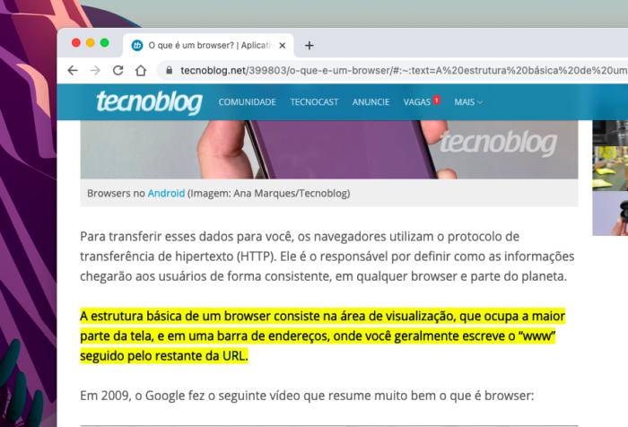 Texto destacado pelo novo recurso do Google Chrome (Imagem: Reprodução/Tecnoblog)