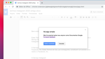 Google Docs e Drive dão erro ao criar, copiar e converter documentos