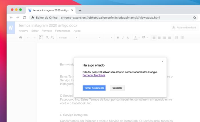 Google Docs não converte documento do Word (Imagem: Reprodução)