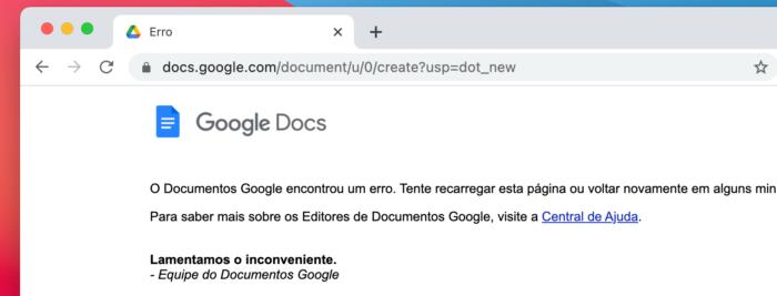 Documentos Google encontrou um erro (Imagem: Reprodução)
