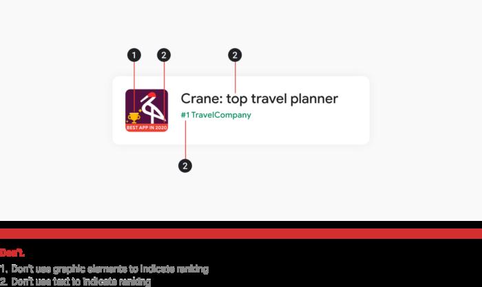 Exemplo de prática não recomendada em títulos e ícones de apps no Google Play (Imagem: Reprodução/Google)