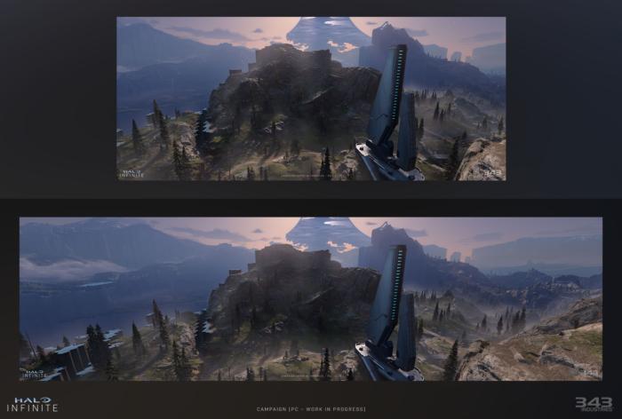 Halo Infinite em 21:9 (em cima) e 32:9 (embaixo) (Imagem: Divulgação/Microsoft)
