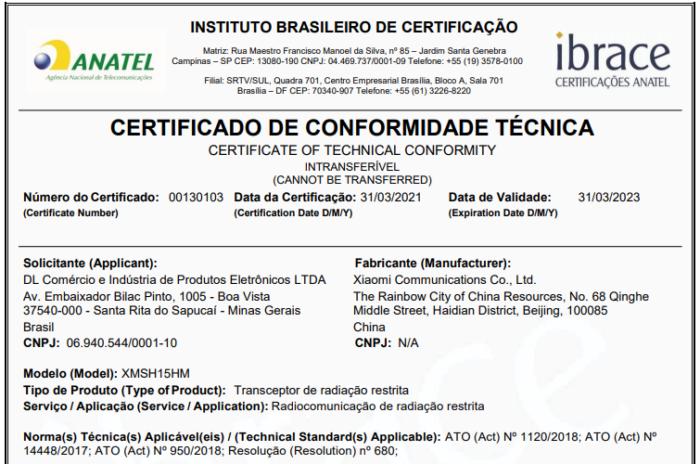 Mi Band 6 recebeu certificado de conformidade técnica da Anatel (Imagem: Reprodução/Anatel)