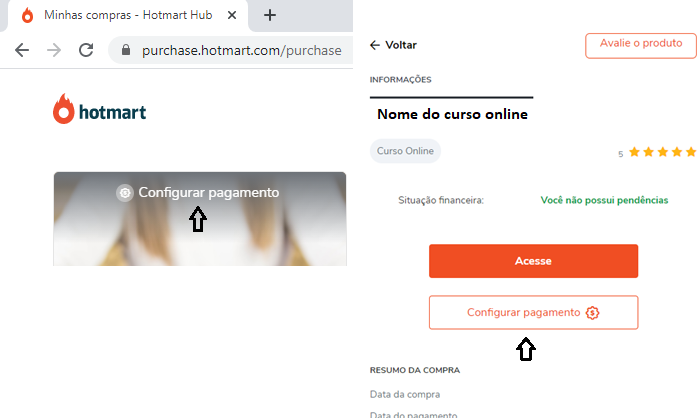 Configuração de pagamento na Hotmart (Imagem: Reprodução/Hotmart)