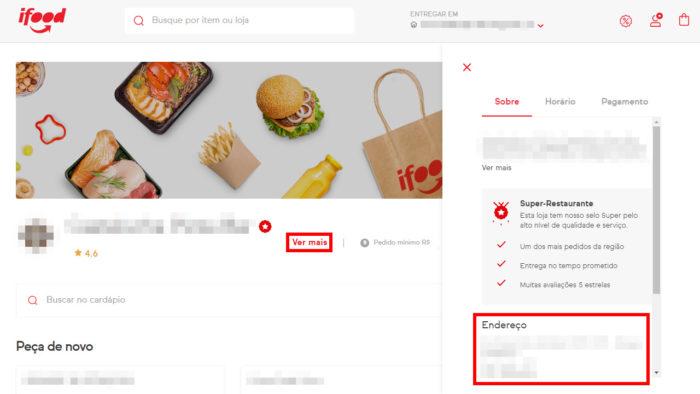 Como ver o endereço do restaurante no site do iFood (Imagem: Reprodução/iFood)