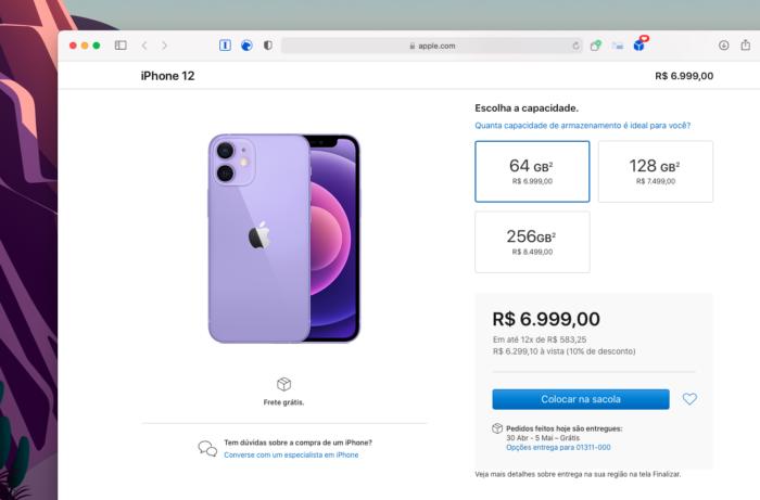 Pré-venda do iPhone 12 roxo no Brasil (Imagem: Reprodução/Tecnoblog)
