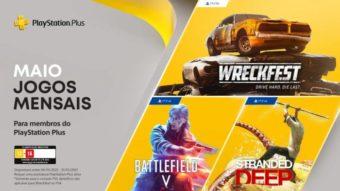PS Plus de maio tem Wreckfest no PS5 e Battlefield 5 no PS4