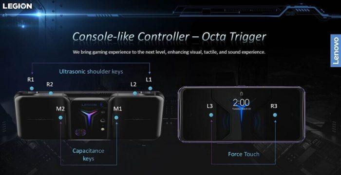 Botões extras para jogos do Lenovo Legion Phone Duel 2 tem câmera frontal na lateral (Imagem: Divulgação/Lenovo)