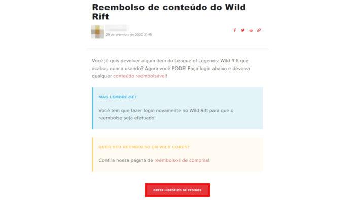 Página de reembolso de League of Legends: Wild Rift (Imagem: Reprodução/Riot Games)