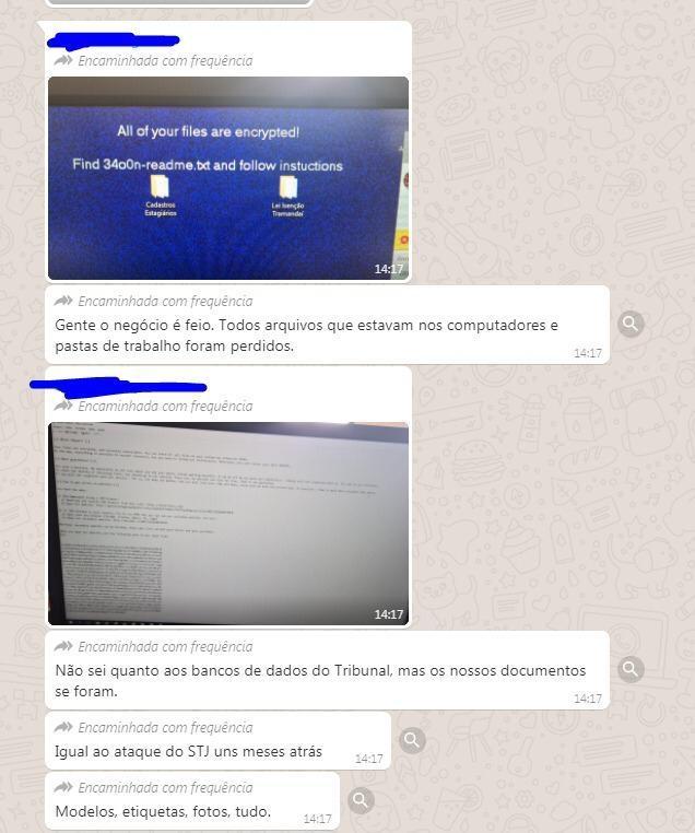 Suposta troca de mensagens entre funcionários do TJRS (imagem: Brute Bee)