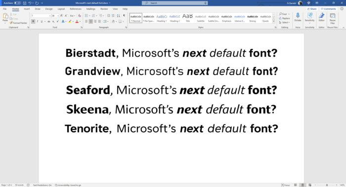 Microsoft tem cinco opções para nova fonte padrão do Office (Imagem: Divulgação)