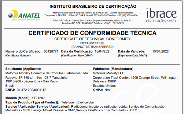 Certificado de conformidade técnica do Moto G20 (Imagem: Reprodução/Anatel)