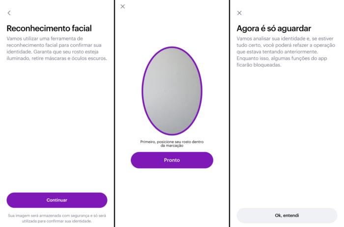 Reconhecimento facial no app do Nubank (Imagem: Reprodução)