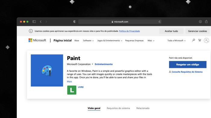 Paint chega na Microsoft Store (Imagem: reprodução/Microsoft Store)