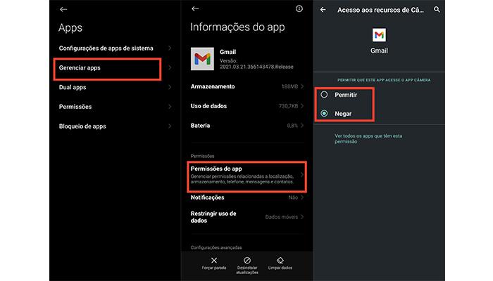 Processo para conceder ou bloquear permissões no Android (Imagem: Reprodução/MIUI 12)