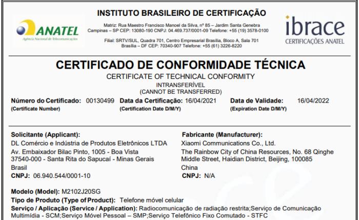 Certificado de conformidade técnica do Poco X3 Pro (Imagem: Reprodução/Anatel)
