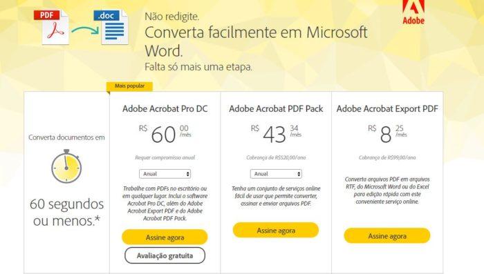 Valores dos planos para assinantes do Adobe Pro, que permite a edição e conversão de PDF (Imagem: Reprodução / Adobe)