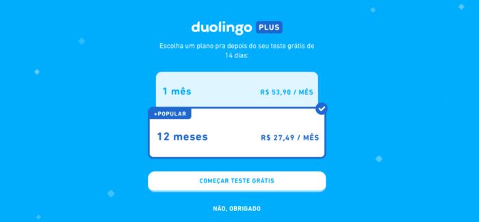 Quanto custa a assinatura do Duolingo Plus? (Imagem: Reprodução/Duolingo)
