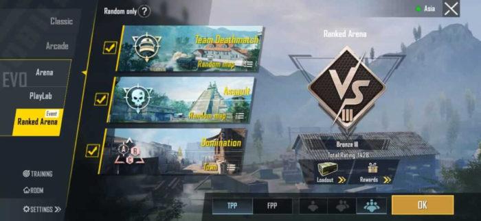 Opções do modo Ranqueado de PUBG Mobile (Imagem: Divulgação/PUBG Corporation/Tencent)