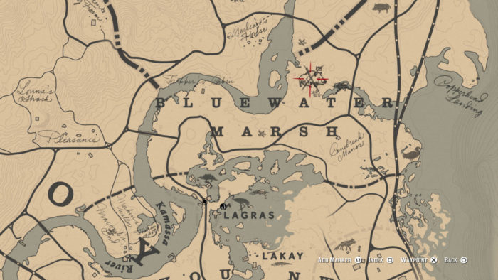 Localização do Javali Lendário no mapa (Imagem: Reprodução/Rockstar Games)