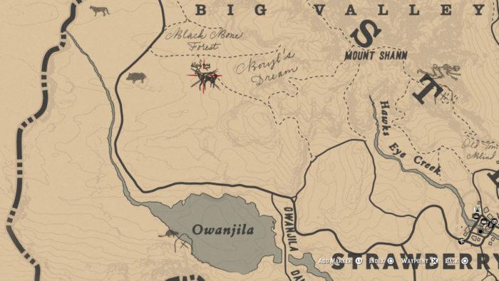 Localização do Cervo Lendário no mapa (Imagem: Reprodução/Rockstar Games)