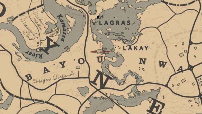 Localização do Jacaré Gigante Lendário no mapa (Imagem: Reprodução/Rockstar Games) / como encontrar animais lendários red dead redemption 2