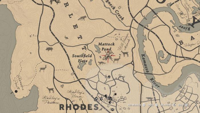 Localização da Raposa Lendária no mapa (Imagem: Reprodução/Rockstar Games) / como encontrar animais lendários red dead redemption 2