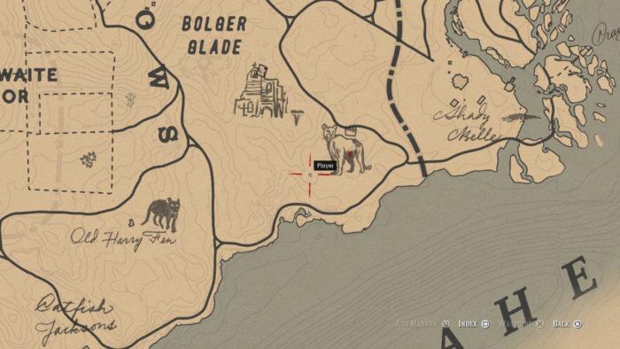 Localização da Pantera Lendária Giaguaro no mapa (Imagem: Reprodução/Rockstar Games) / como encontrar animais lendários red dead redemption 2