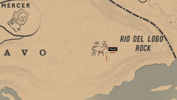 Localização da Antilocapra Lendária no mapa (Imagem: Reprodução/Rockstar Games) / como encontrar animais lendários red dead redemption 2