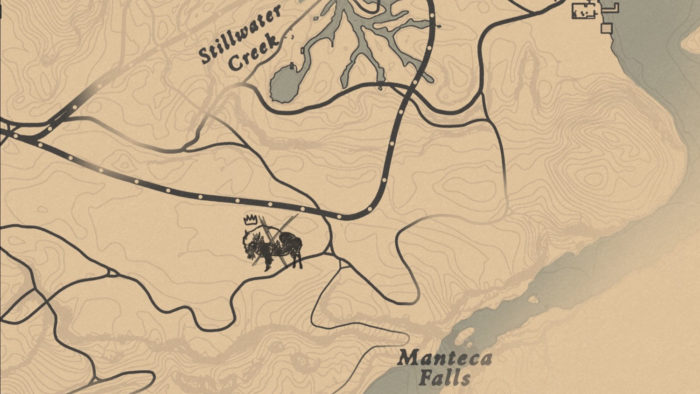 Localização do Bisão Lendário Tatanka no mapa (Imagem: Reprodução/Rockstar Games) / como encontrar animais lendários red dead redemption 2