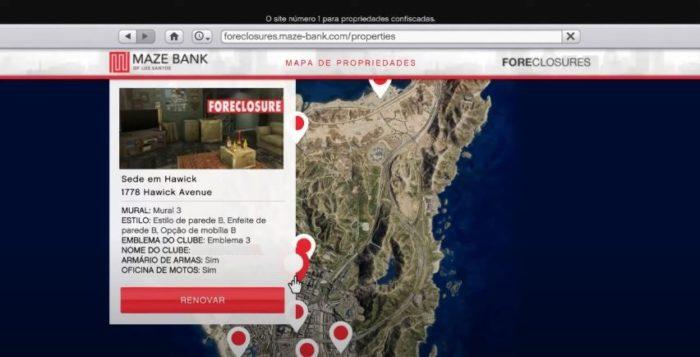 Escolha o local da sua sede e compre através do navegador (Imagem: Reprodução / GTA V)