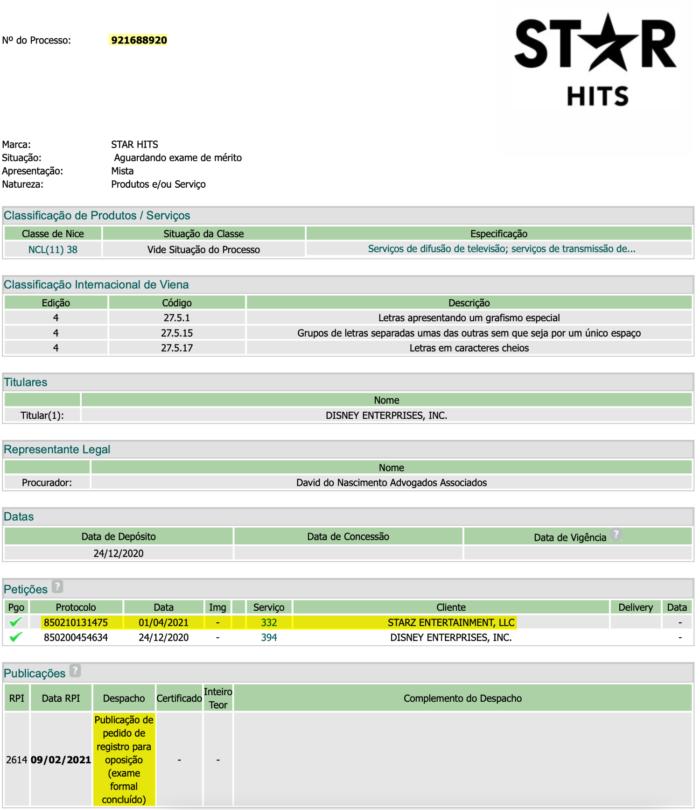 Starz registrou pedido de oposição à marca Star (Imagem: Reprodução/INPI)