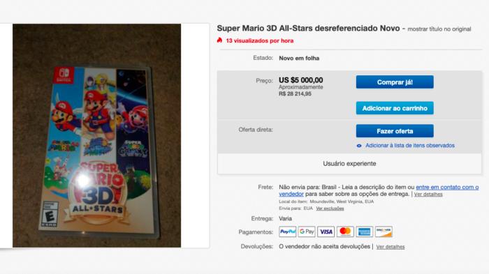 Cópias de Super Mario 3D All-Stars alcançam valores absurdos (Imagem: Reprodução)