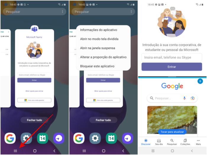 Como dividir a tela no Android (Imagem: Reprodução/Android)