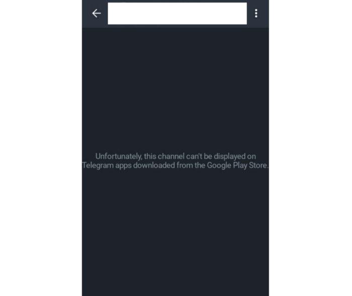 Canal do Telegram não pode ser acessado pelo app instalado via Play Store (Imagem: Reprodução/Android Police)