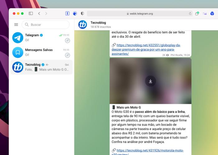 Telegram WebK (Imagem: Reprodução/Tecnoblog)
