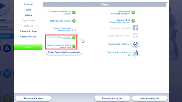 Configurações de The Sims 4 no PC (Imagem: Reprodução/Maxis/Electronic Arts)