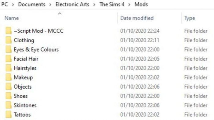 Exemplo da pasta Mods organizada com subpastas (Imagem: Reprodução/Microsoft)