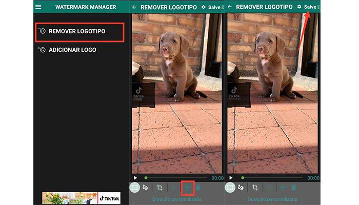 Processo para tirar a marca d'água do TikTok no Android (Imagem: Reprodução/Watermark Manager)