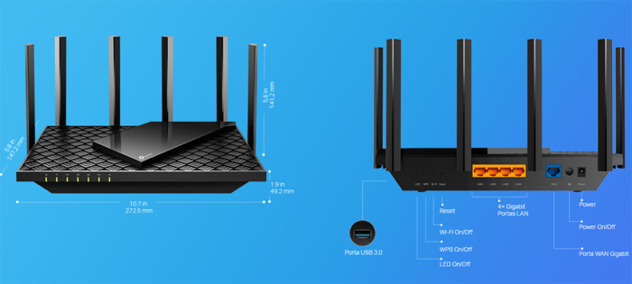 TP-Link Archer AX73 tem porta USB, 4 LAN e 1 WAN no padrão Gigabit (Imagem: Reprodução)