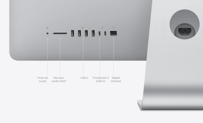 Conexões do iMac de 2020, de 27 polegadas (Imagem: Divulgação/Apple)
