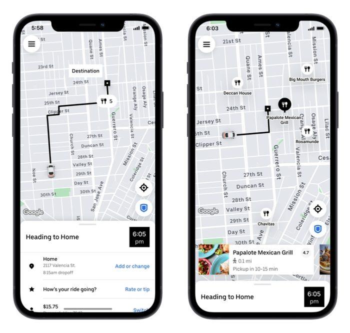 Opção 'para levar' do Uber Eats (imagem: divulgação/Uber)