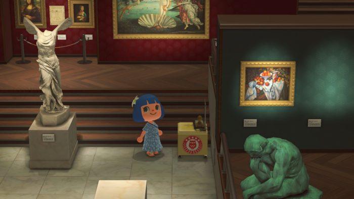 Missão de coleta de selos no museu de Animal Crossing: New Horizons (Imagem: Divulgação/Nintendo)